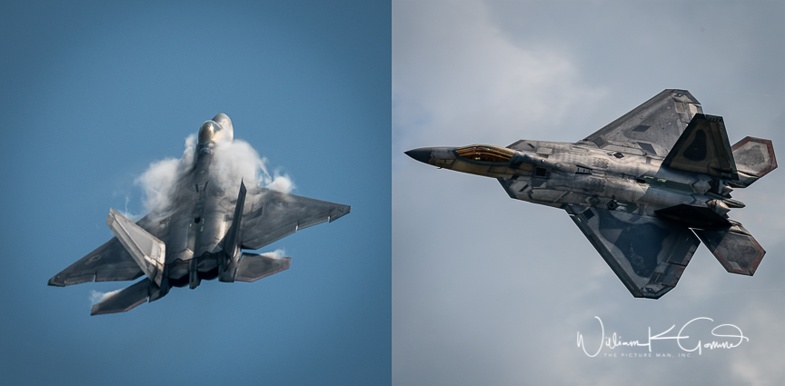 Another highlight of the show was a demonstration of the flying capabilities of the F22 Raptor.  This aircraft is capable of flying at supersonic speed while at the same time maneuver with fantastic speed and grace.  The image on the left shows the vapor cone that forms on the plane at high speed.  this aircraft made several high speed passes and yet did 90 degree turns to vertical.  It was even able to fly backwards while under power.