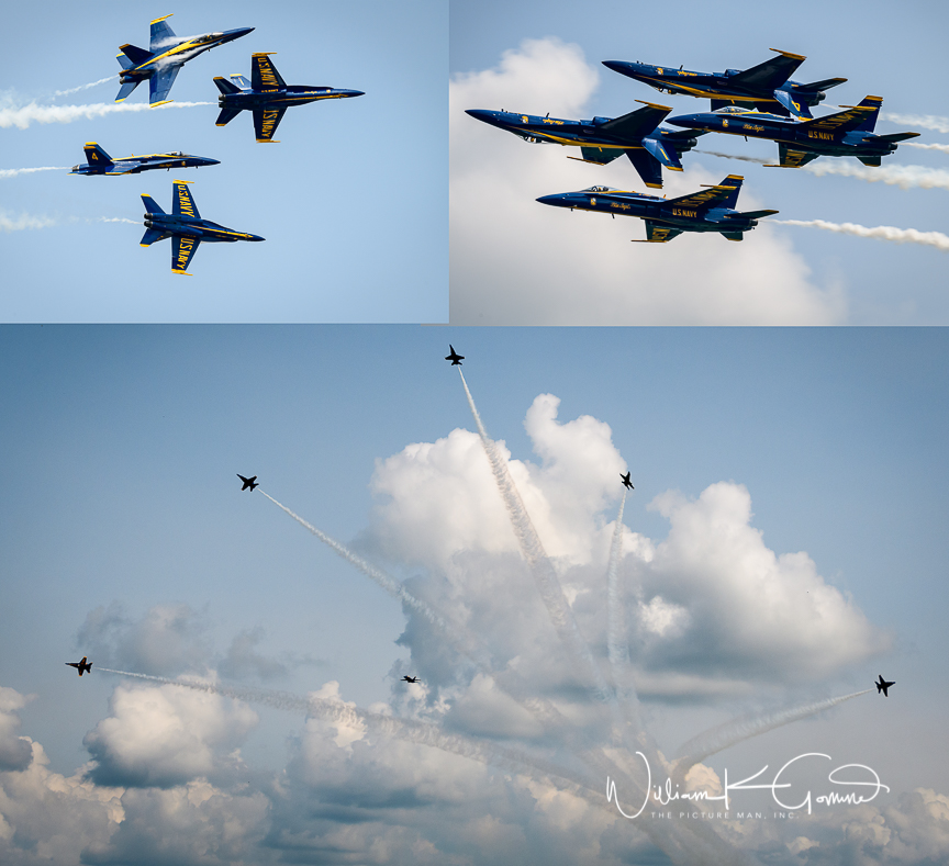The precision formations of the blue Angels.