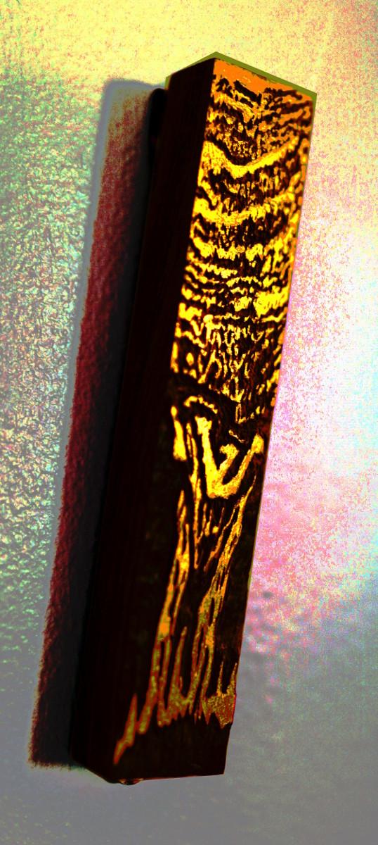 Mezzuzah, carved African mahogany, goldleaf