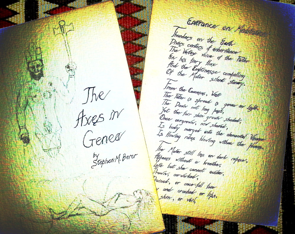 'The Axes in Genea', my first handmade book, title and page 1, spotlighted