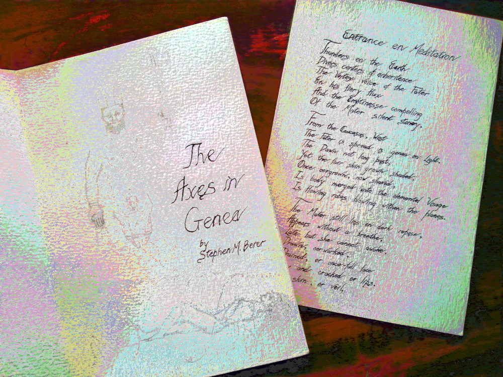 'The Axes in Genea', my first handmade book, title and page 1
