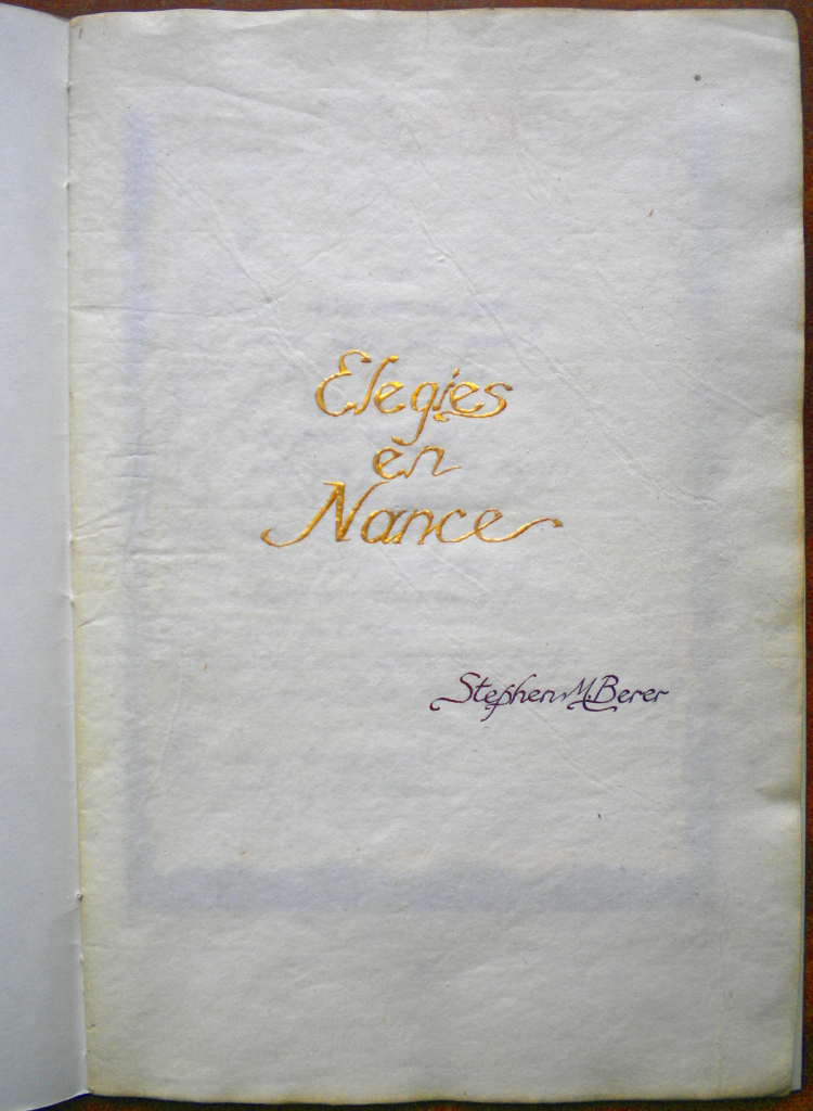 'Elegies en Nance', a book illuminated on old Persian paper, cover