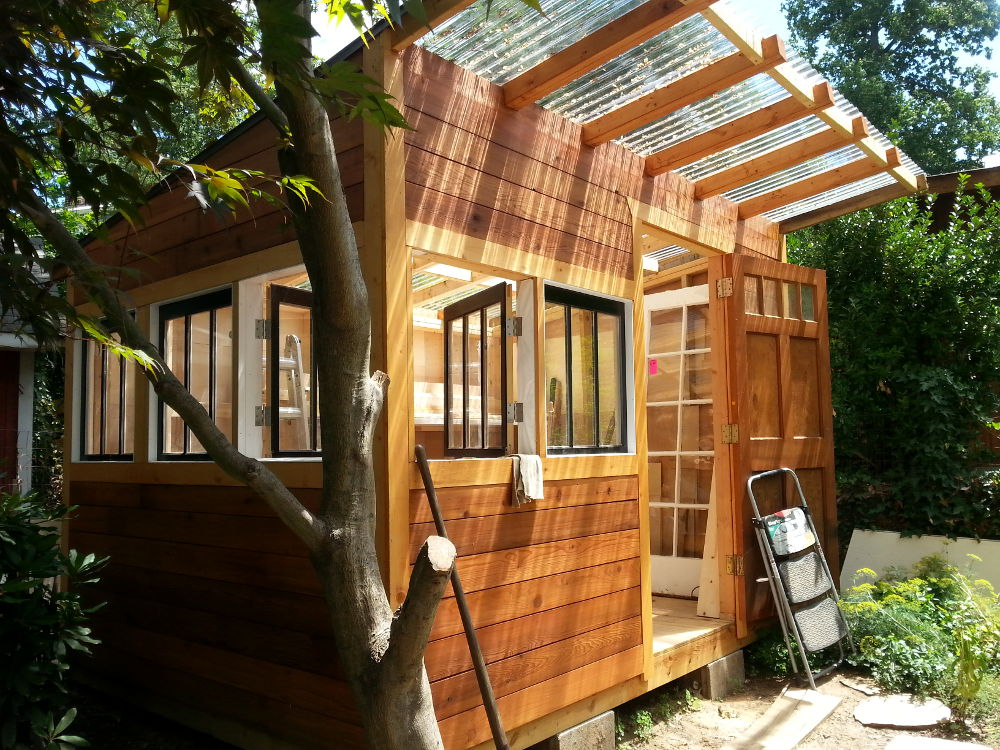 rebuilding a shed, 4: reclaimed cedar siding