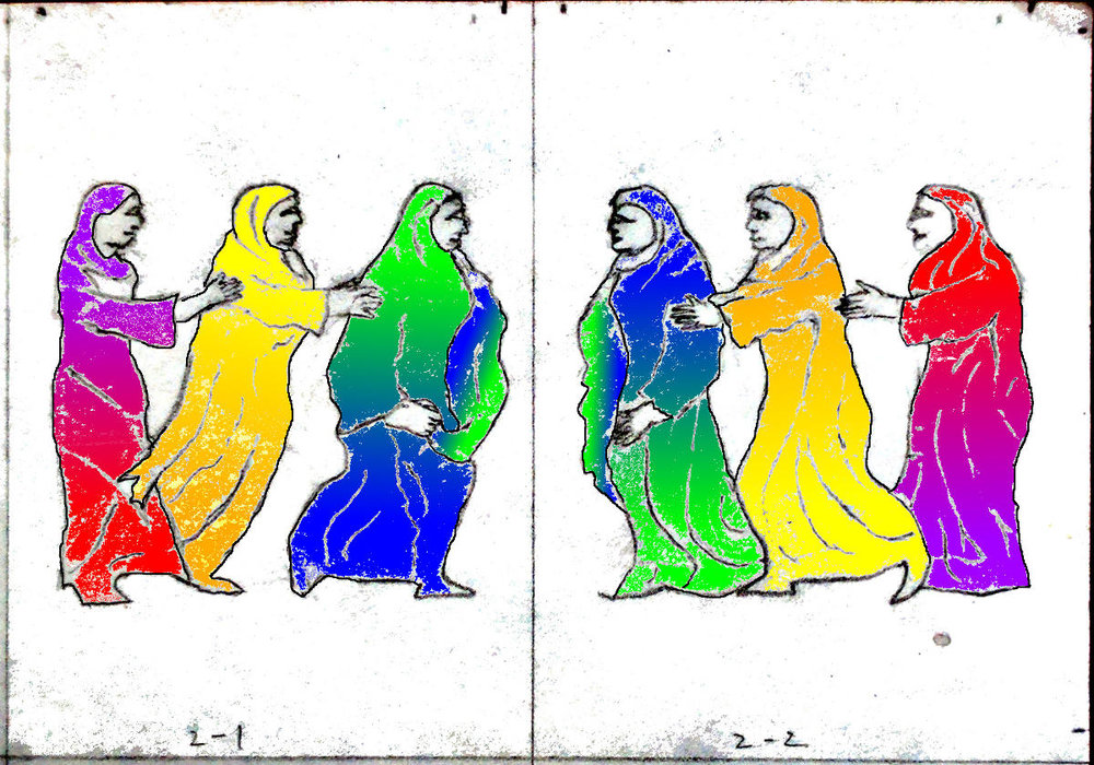Dancing women, color test for robes