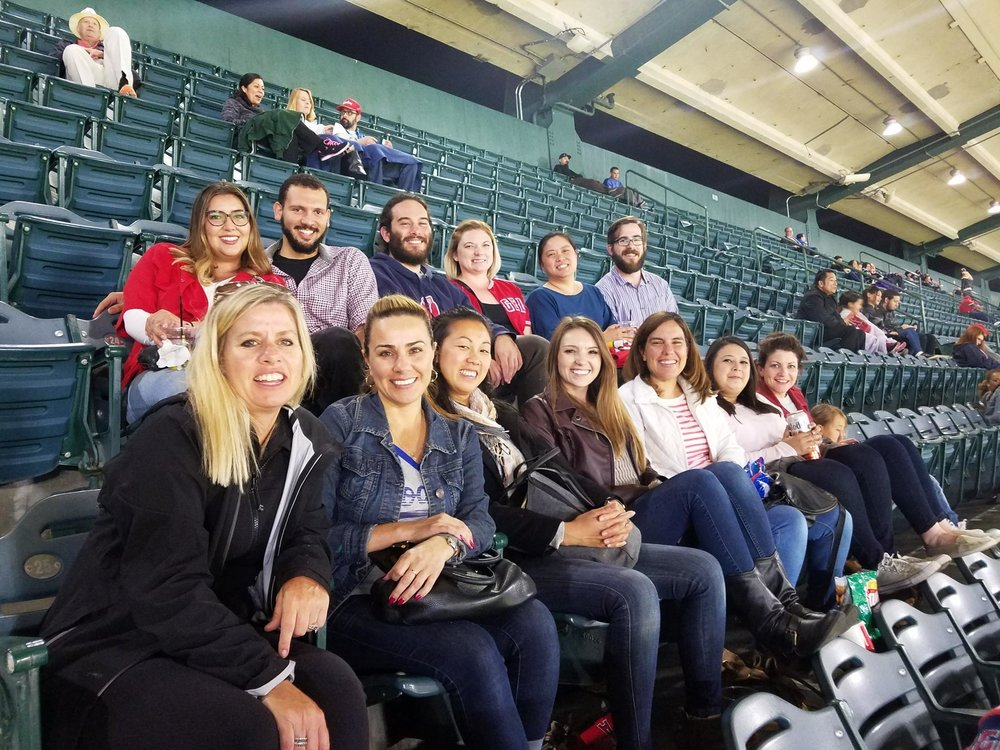 Some of the Patterns team enjoy a night at the baseball game.