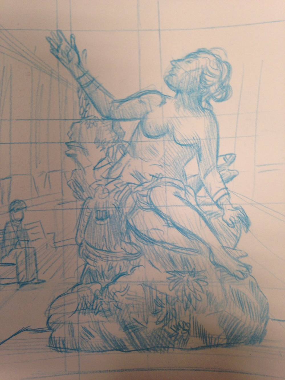 Close up of a pretty much finished sketch of the statue