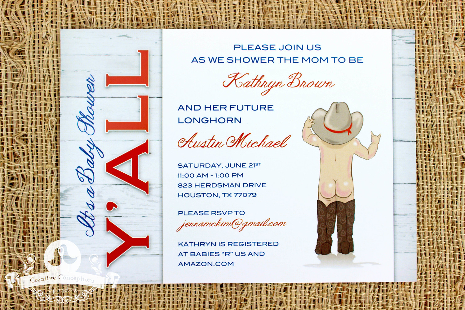 Texas Themed Baby Shower Invitation — Creative Conceptions by Caroline