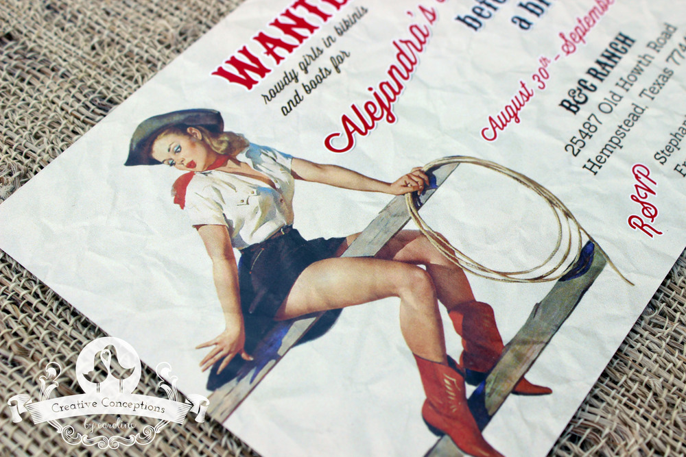 Vintage Cowgirl Pin-Up Bachelorette Invitation — Creative ...