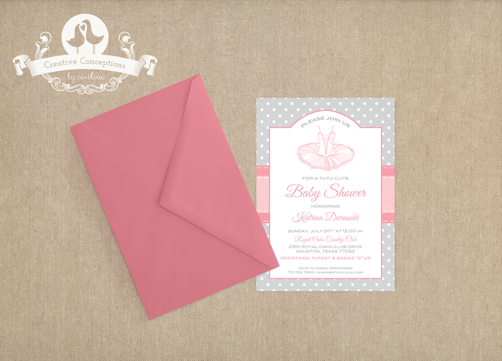 Ballerina Baby Shower Invitation — Creative Conceptions by Caroline