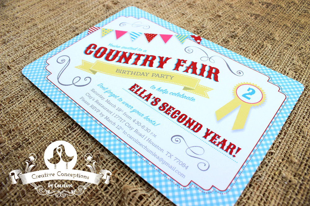 Ellas Country Fair Birthday Party Invitation Creative – Creative Party Invitation