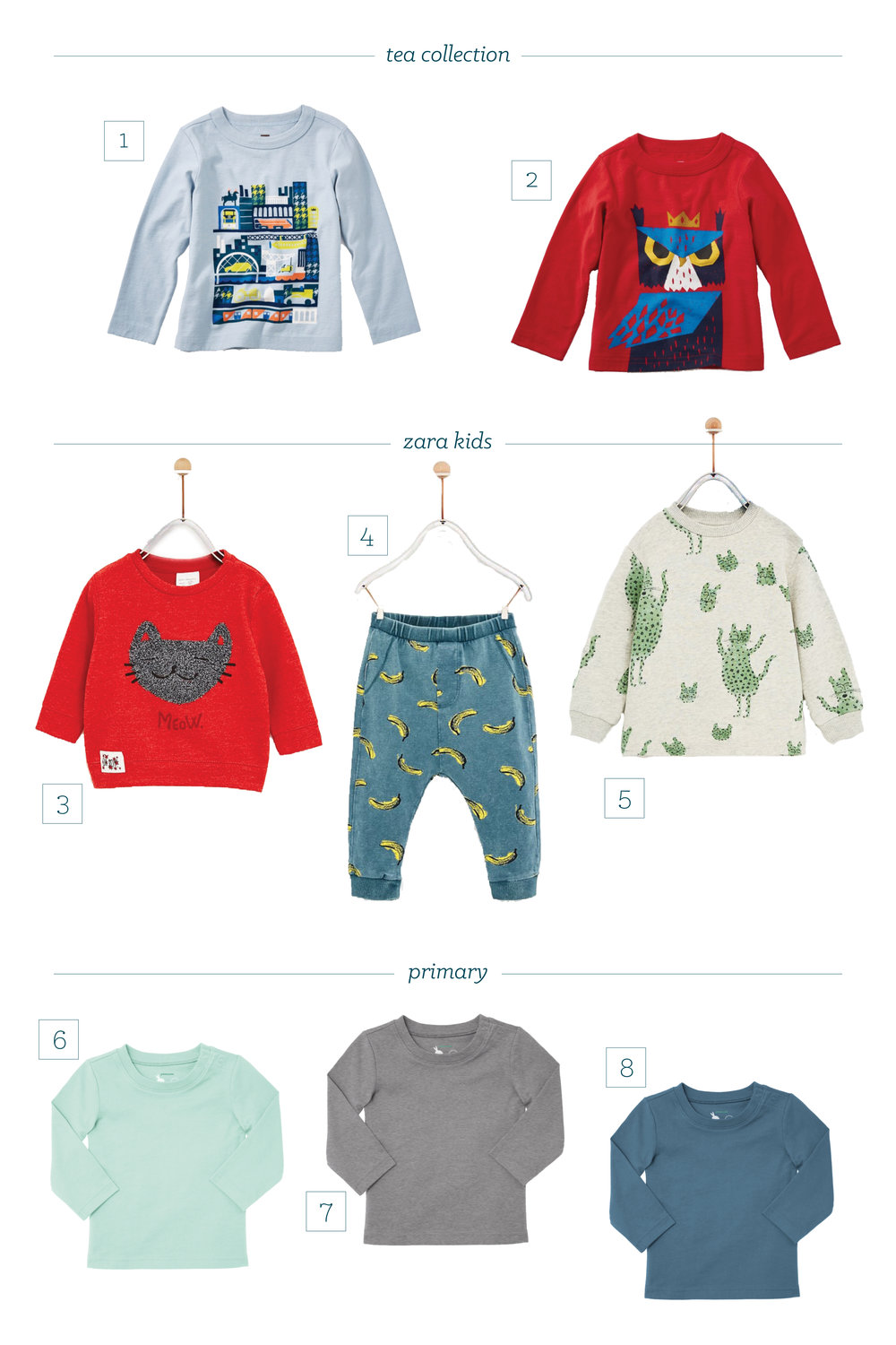 1. Glasgow Tour Baby Tee 2. Horned Owl Graphic Tee 3. Loop Pile Cat Sweatshirt 4. Banana Print Leggings 5. Animal Print Sweatshirt 6. Long Sleeve Baby Tee in Mint 7. Long Sleeve Baby Tee in Heather Gray 8. Long Sleeve Baby Tee in Slate Blue