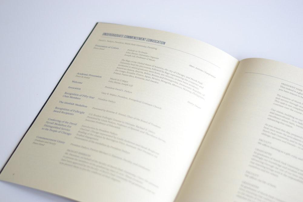 University commencement program design