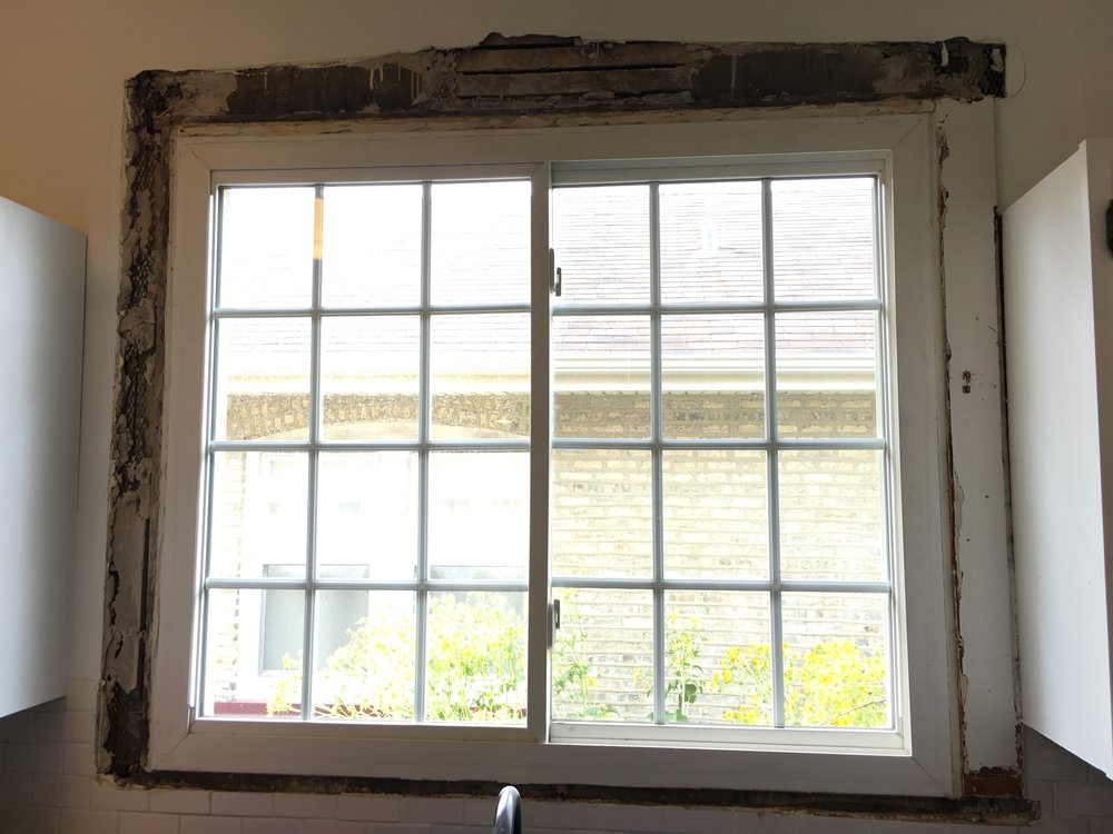The carpenter we worked with removed the entire frame and replaced it with a beautiful, cohesive frame (below)