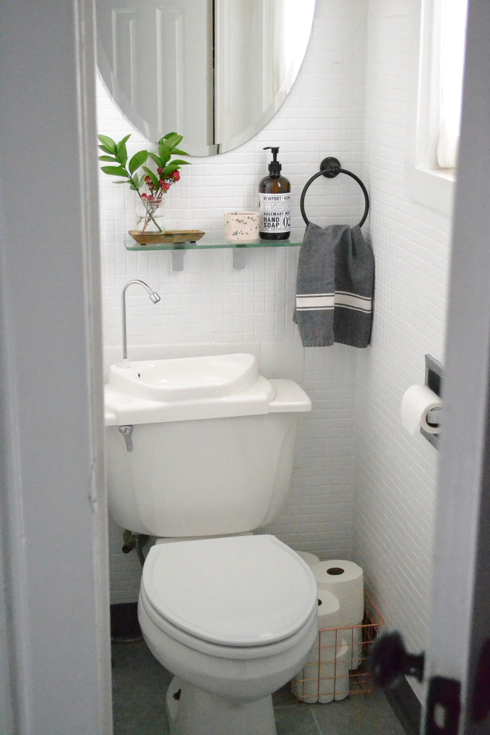 Our first floor powder room after some quick fixes.