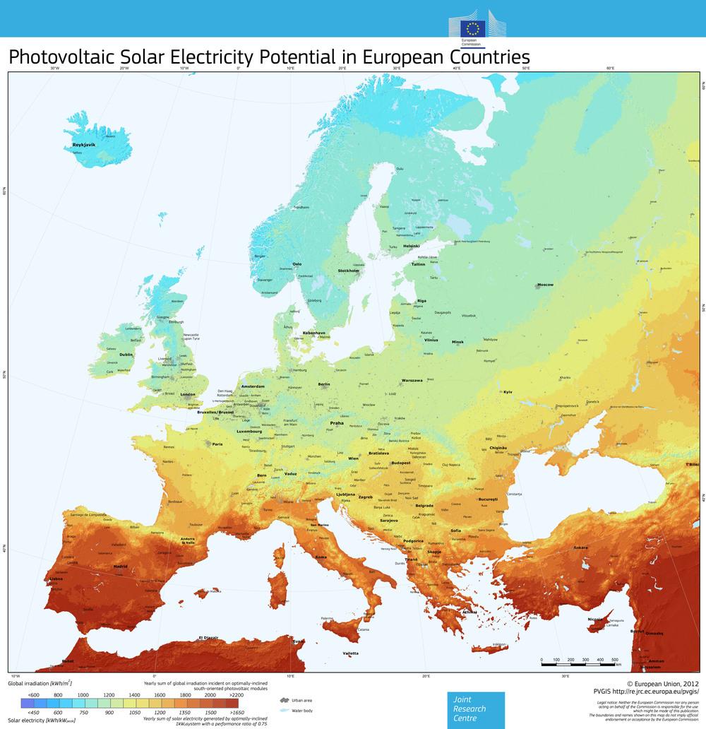 Потенцялът на соларната енергия в регионите на Европа