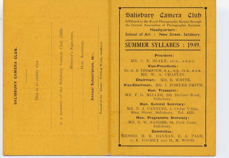 Programme 1949 summer