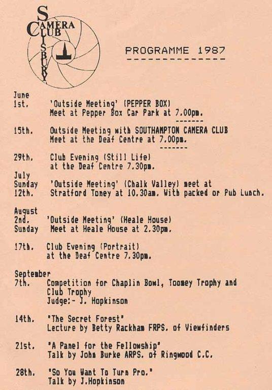 Programme 1987 summer