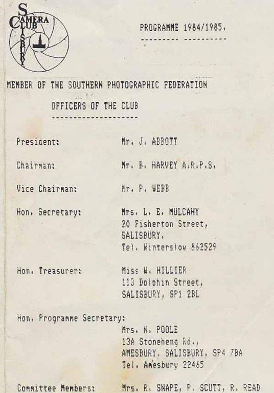 Programme 1984-1985