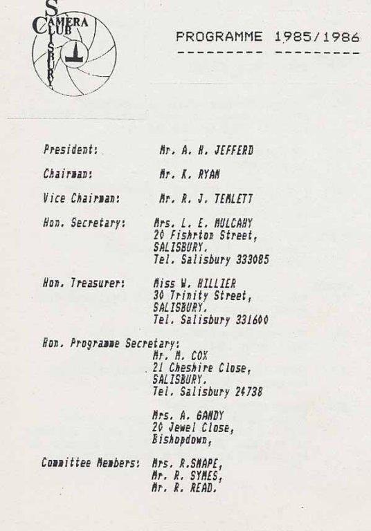 Programme 1985-1986