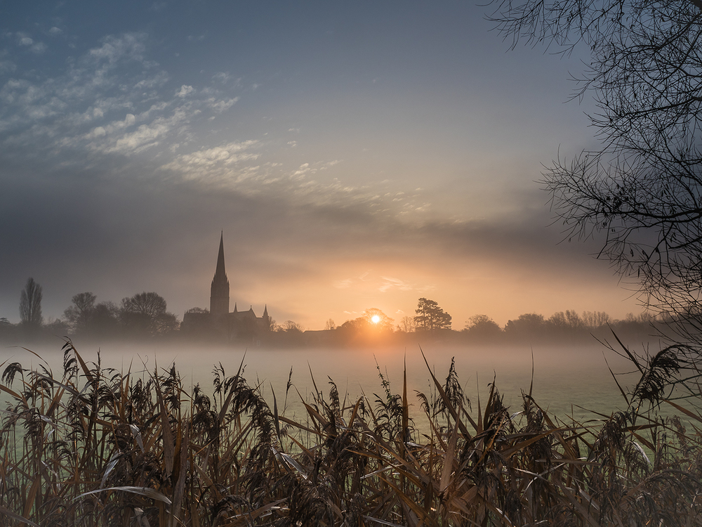 Salisbury Cathedral Meadow and Mist by Mark Cooper