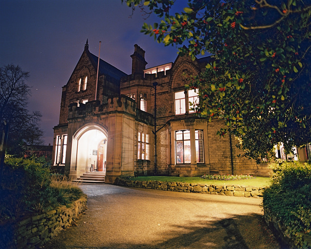 The Mansion House, photographed at night.