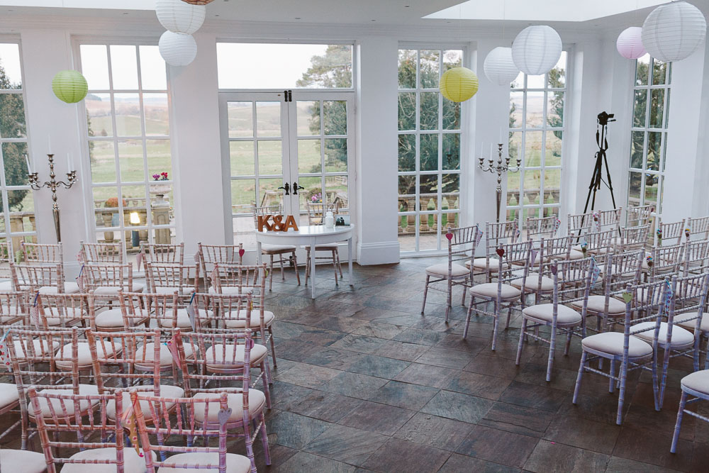 The Orangery set up for Kat & Alan's wedding