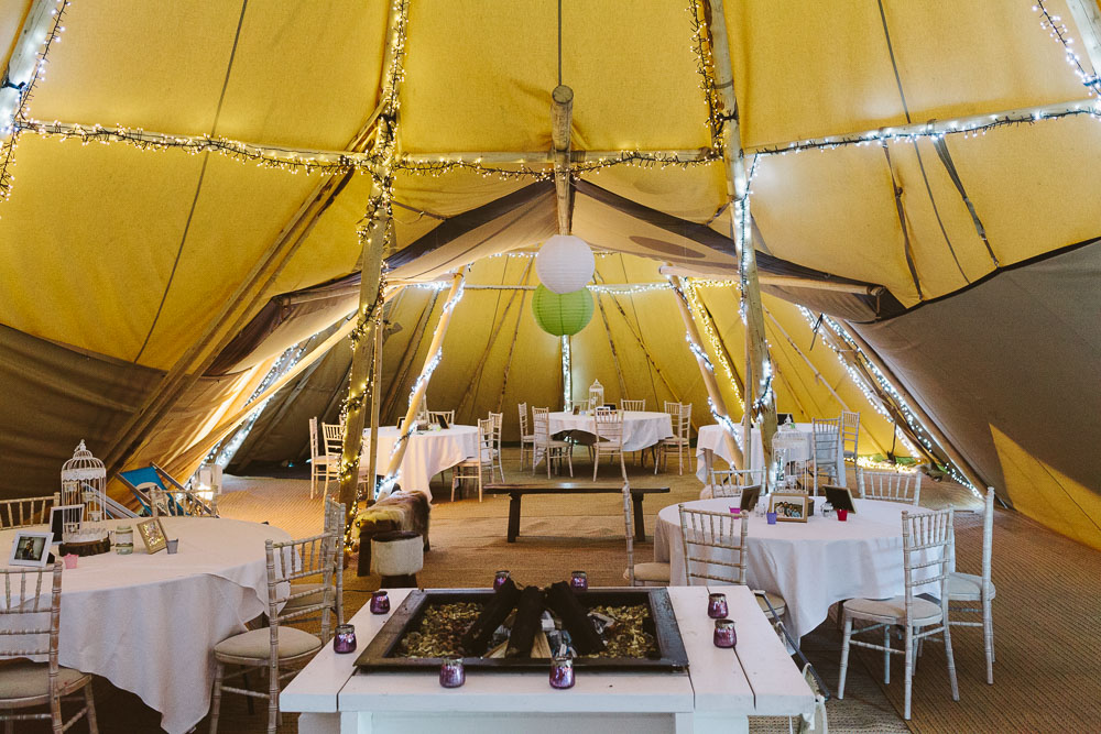 Marquee interior set out for a wedding drinks reception