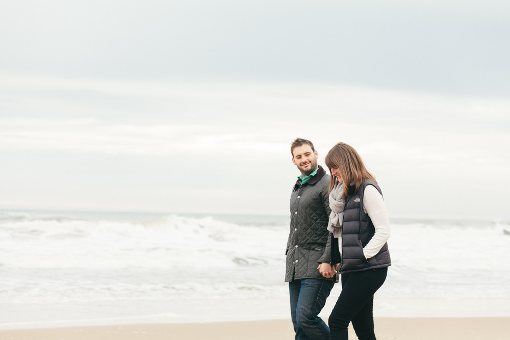 Sarah & Bry engagement shoot on the beach at Tynemouth