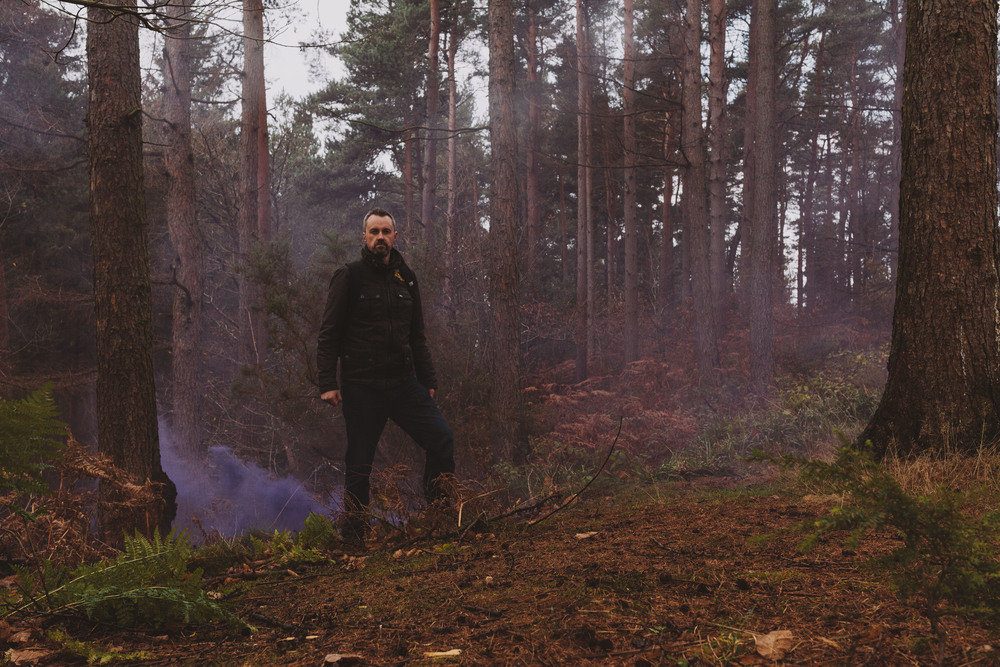 Barry Forshaw // Engagement test shot with smoke bomb at Chopwell Woods