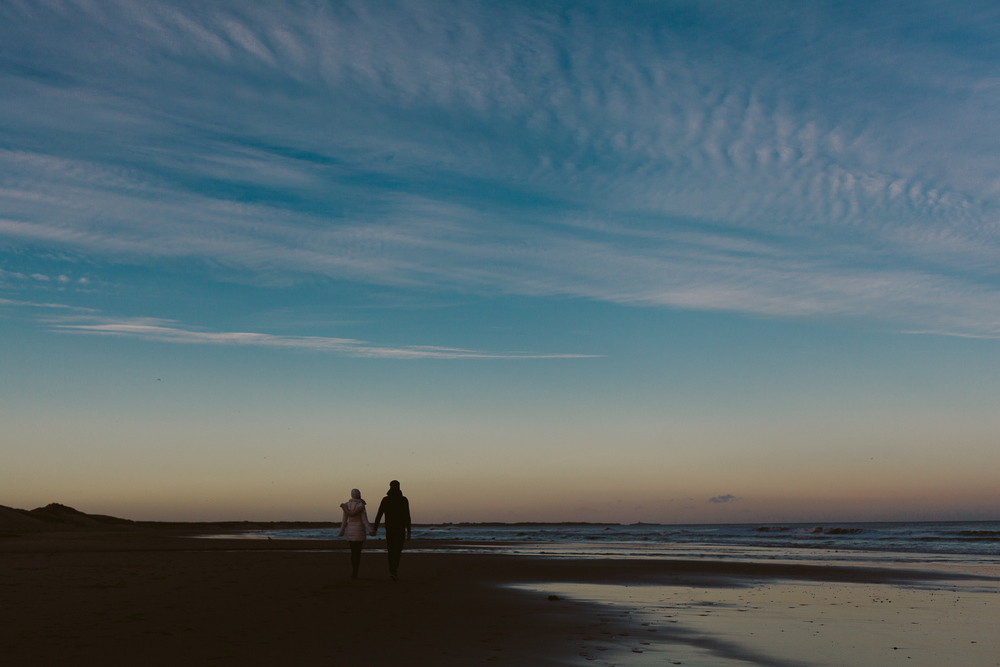 Northumberland Engagement Photographer // Nadia & Andrew // Sunset on the Beach