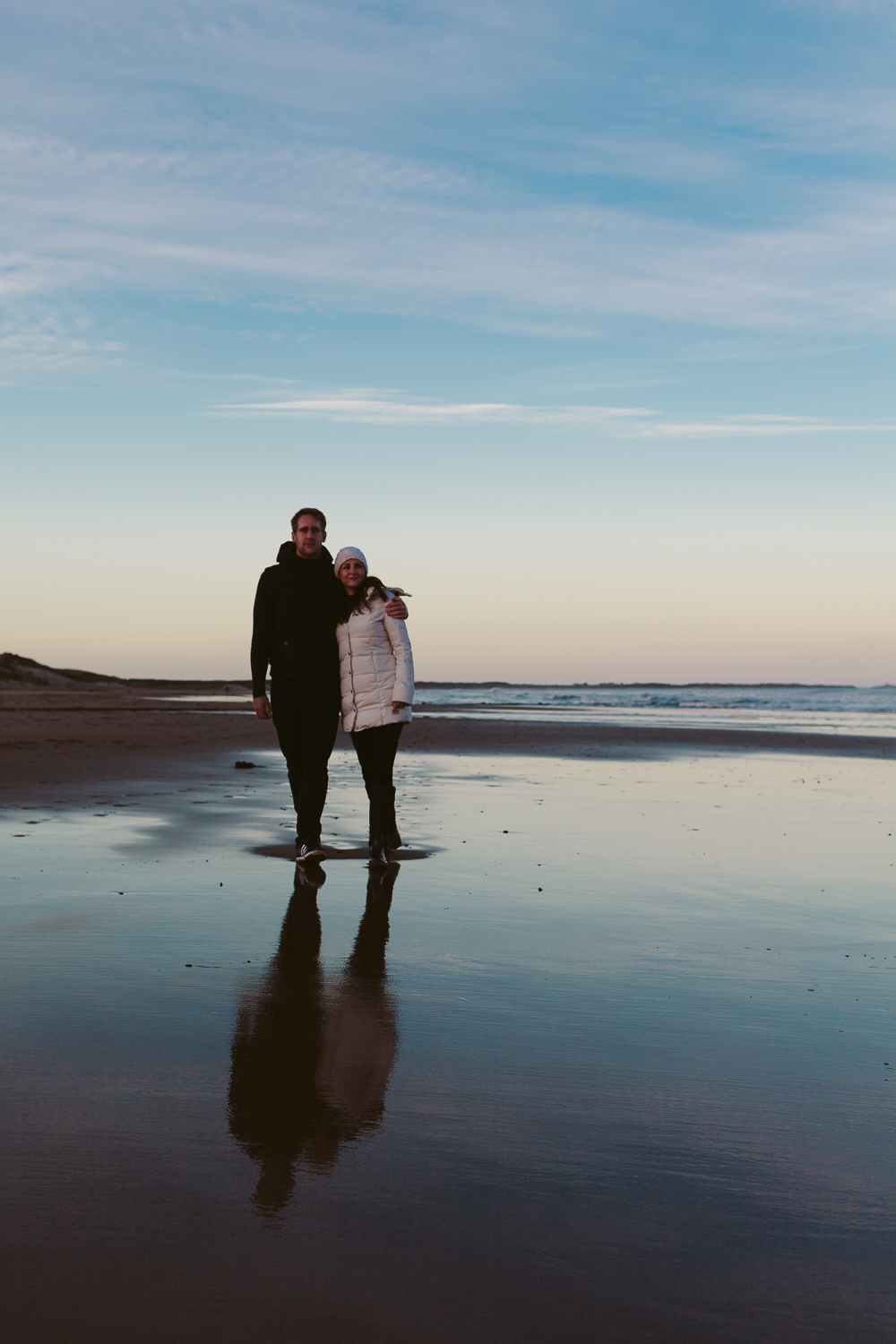 Northumberland Engagement Photographer // Nadia & Andrew // Reflections on the Beach