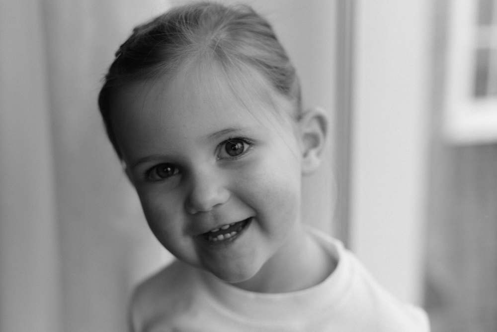 Black and white natural light portrait of Audrey