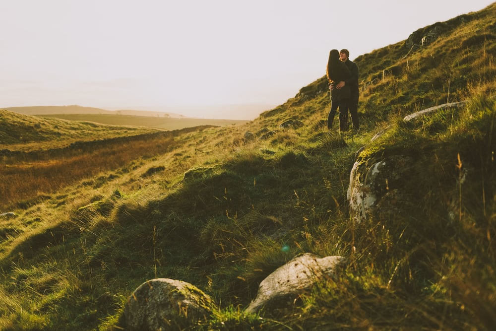 Northumberland Engagement Photograph // Rebecca & Chris // Looking across the Northumberland Countryside