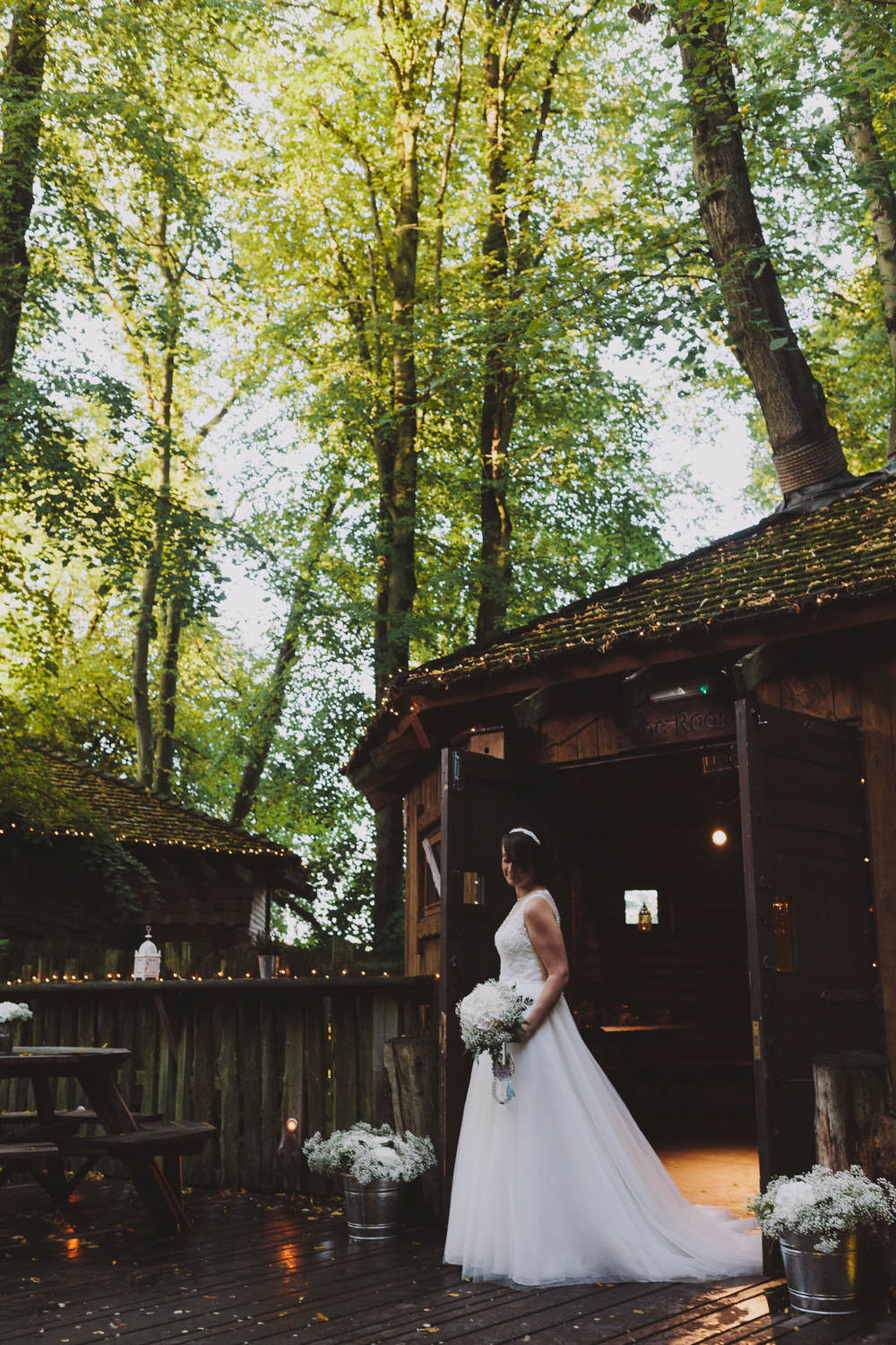 Alnwick Garden Treehouse Bride outside The Nest