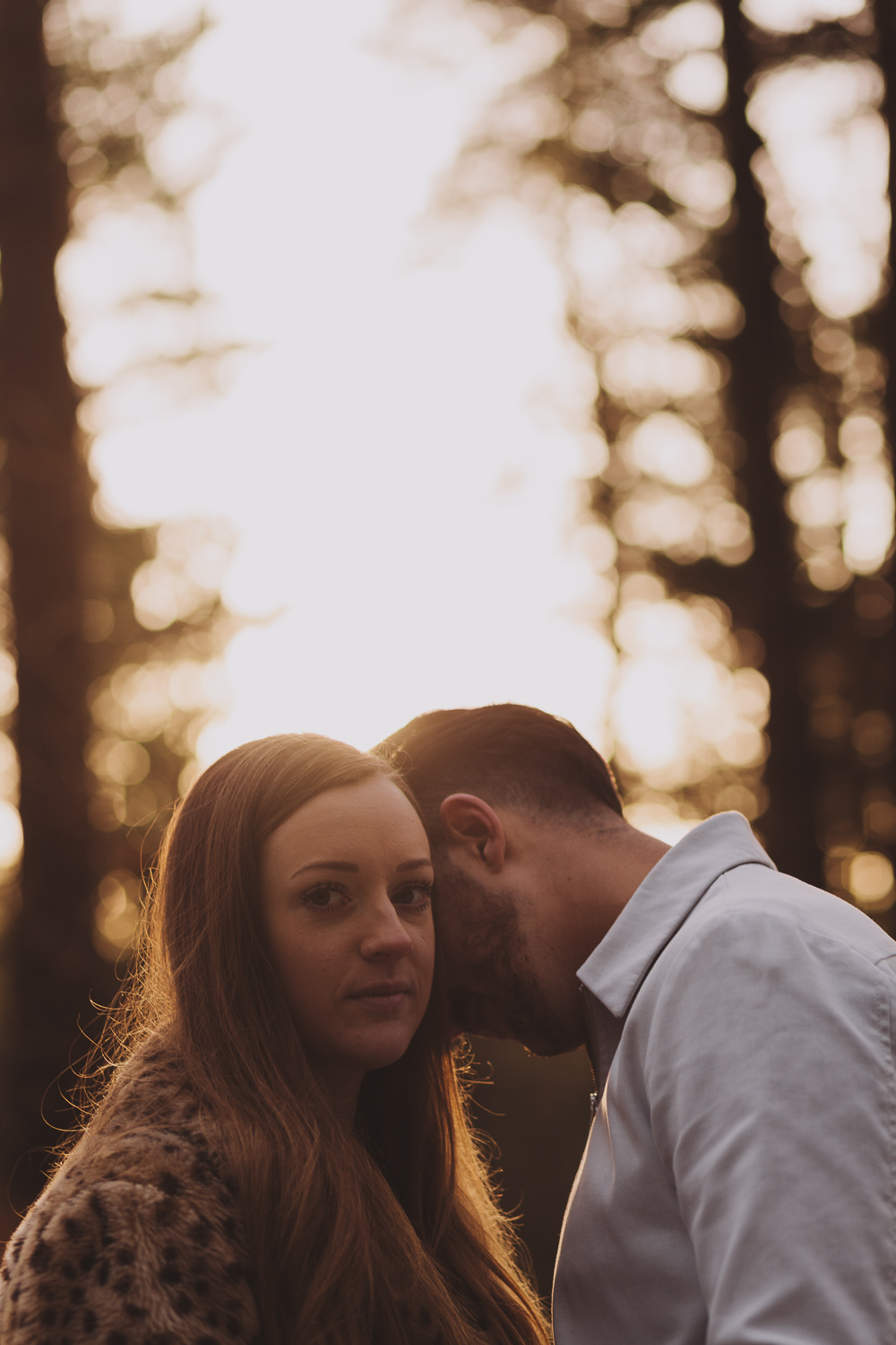 Engaged couple kissing in a wood in Newcastle upon Tyne at golden hour
