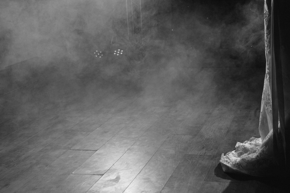 Durham Wedding Photographer // Close up of brides dress through smoke