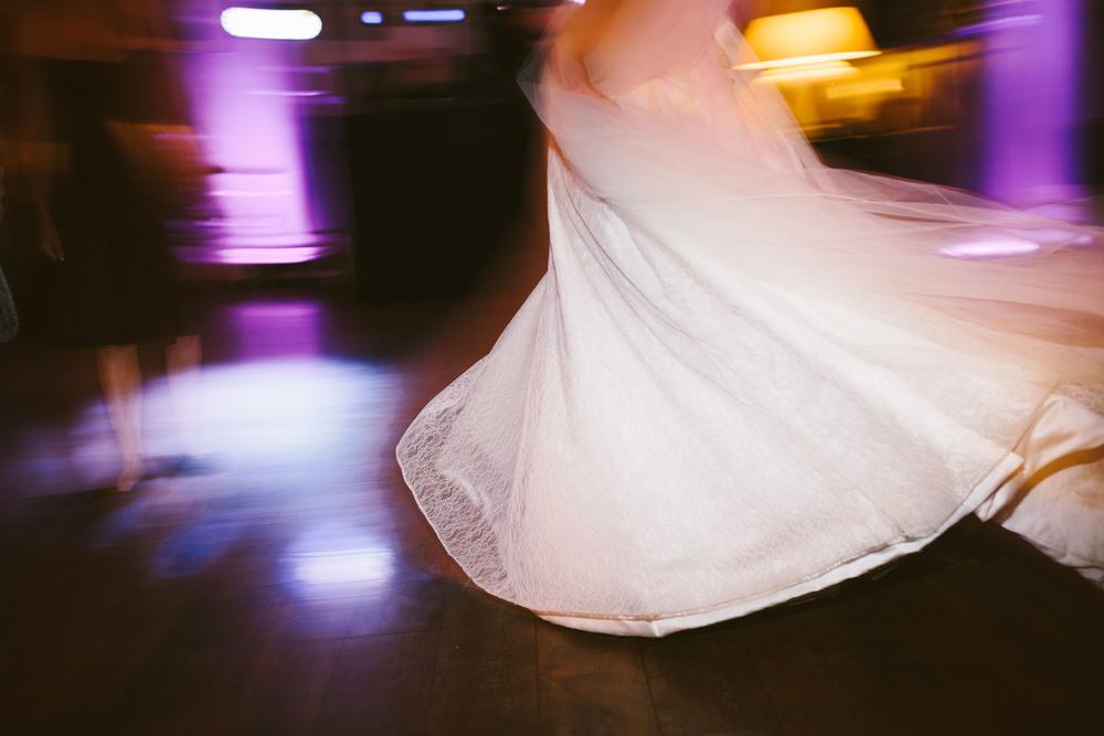 Northumberland Wedding Photographer // Close up of bride's dress on dancefloor