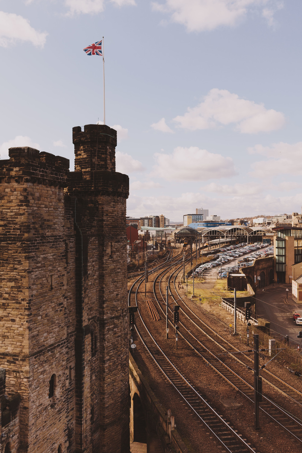 View of Newcastle castle and Central Station from the roof of The Vermont Hotel