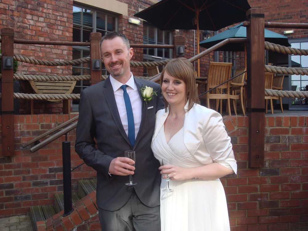 My wife and I on our wedding day at the Hotel du Vin