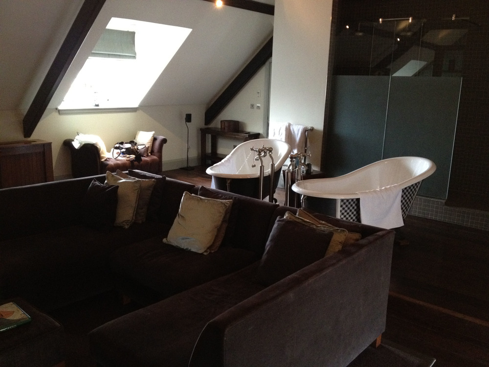 Roll-top baths in the Dom Perignon suite at Hotel du Vin