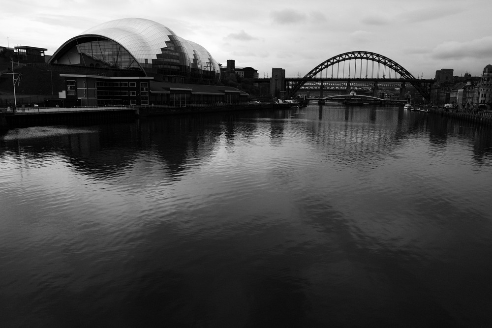 Sage Gateshead with the Tyne Bridge in the background