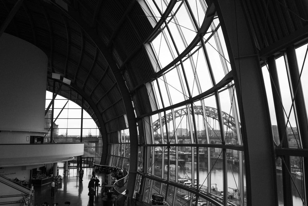 The Sage Gateshead lets in lots of light and is well suited to high contrast black and white wedding photography