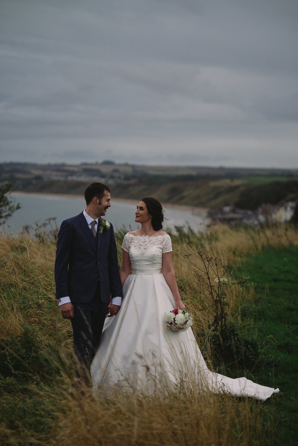 Katy & Tom on the clifftop overlooking the Yorkshire Coast by Barry Forshaw