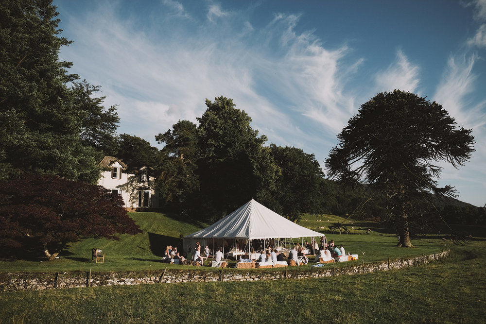 A wide view of the marquee at Julia and Darren's Lake District wedding by Barry Forshaw