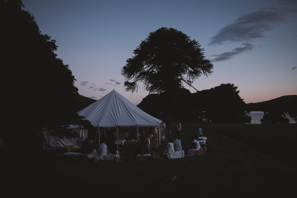 The sun sets over the marquee at Julia and Darren's Lake District wedding by Barry Forshaw