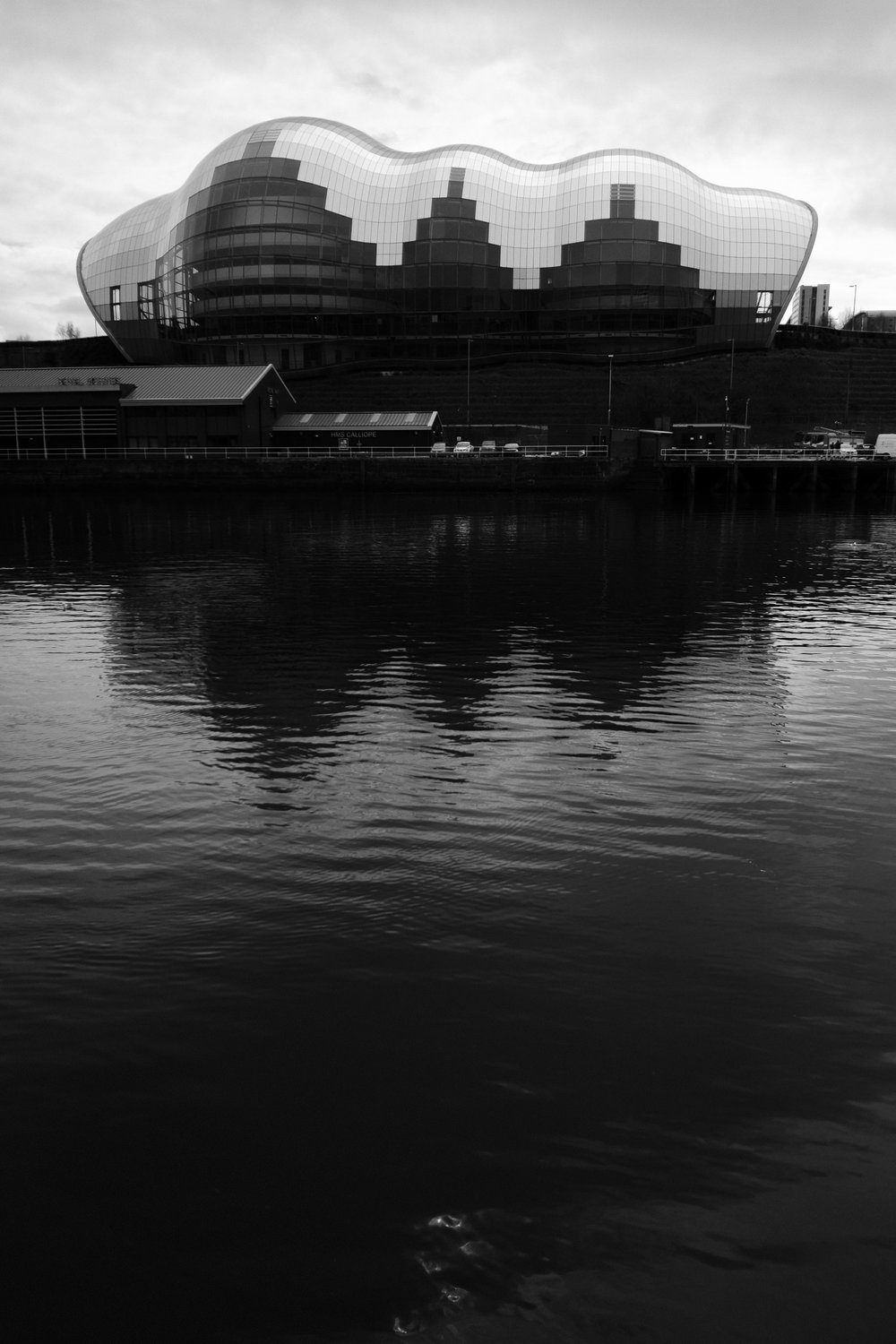 A moody black and white photo of The Sage wedding venue Newcastle upon Tyne