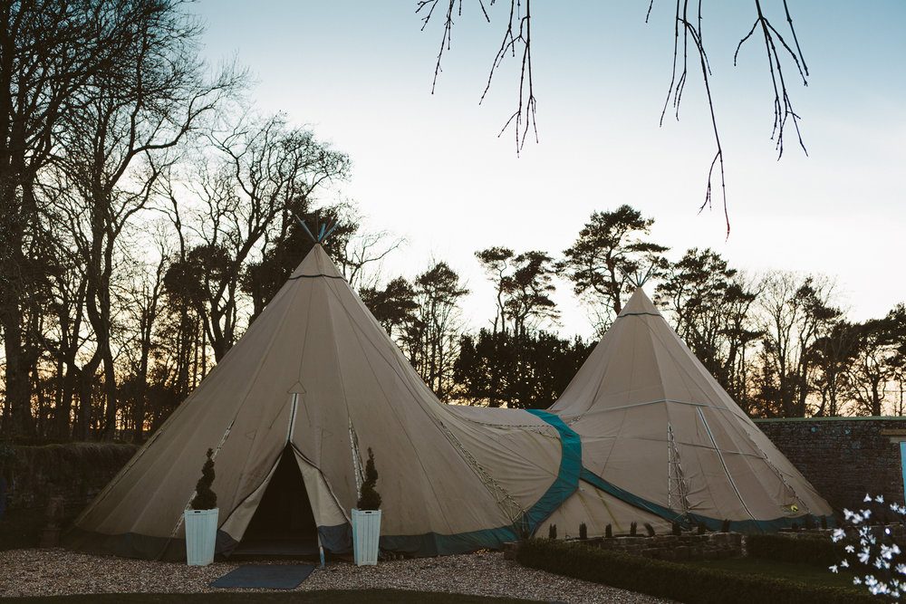 Tipi in spring sunlight at Woodhill Hall