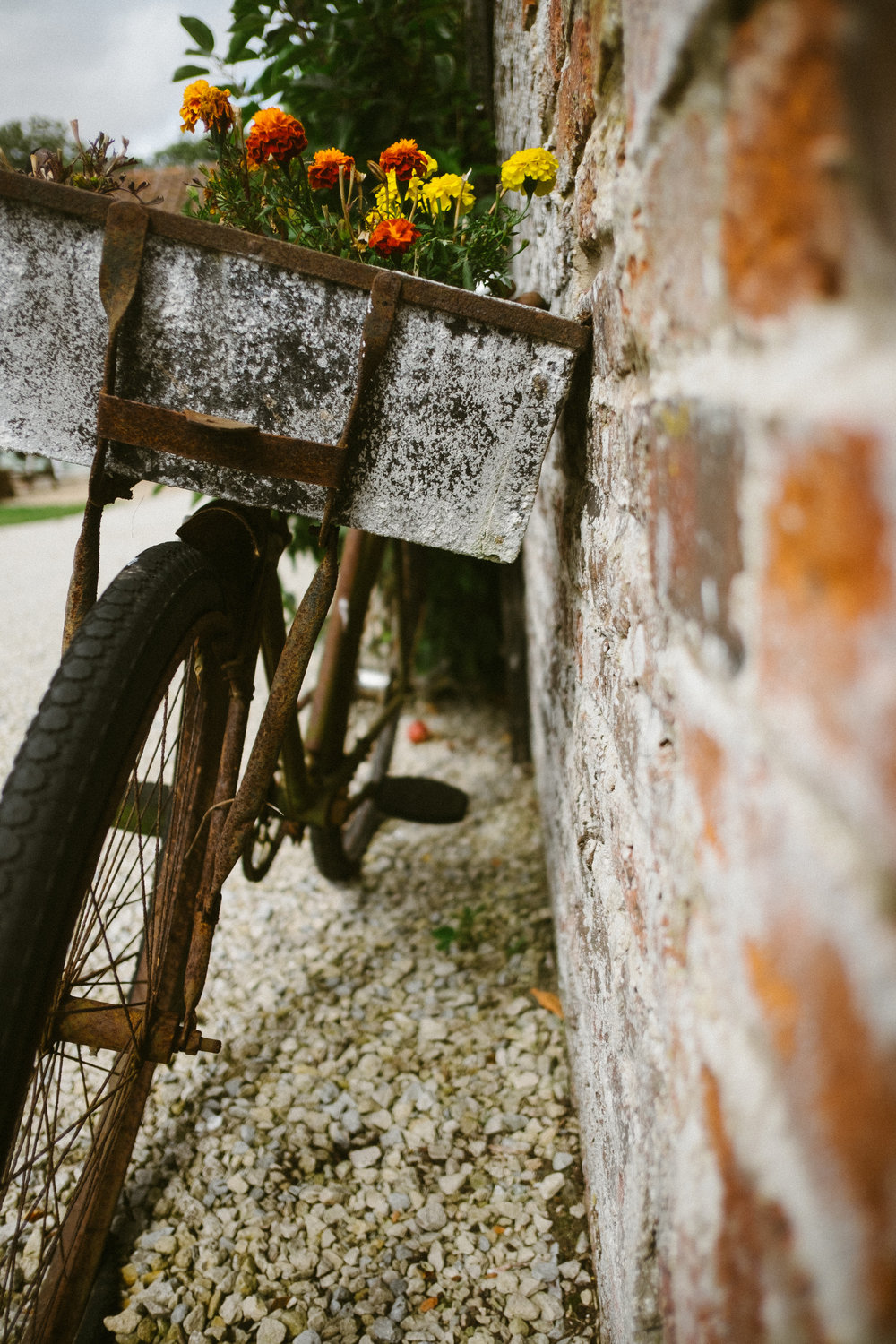 Rusty bike with colourful flowers in basket leaning against a brick wall at Dale farm wedding
