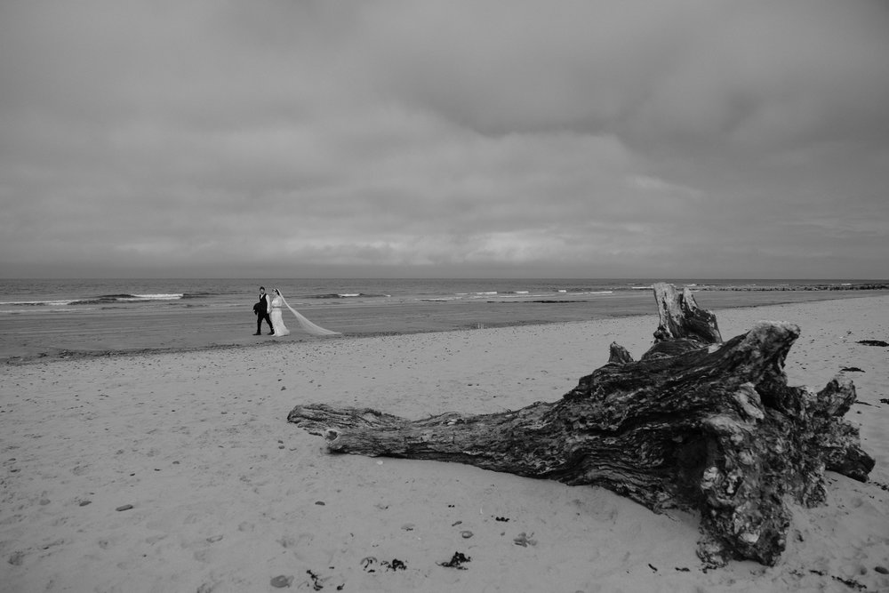 Black and white photo of the bride and groom walking along the beach with driftwood in the foreground