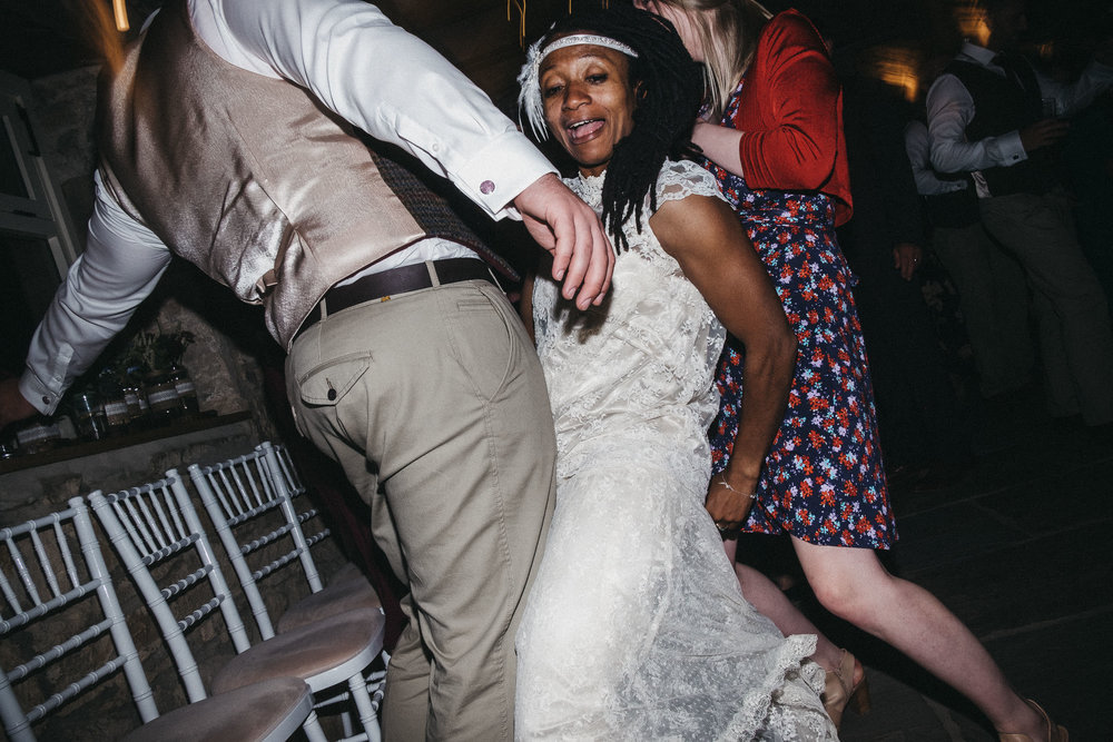 Bride and groom dance wildly at wedding in Newcastle